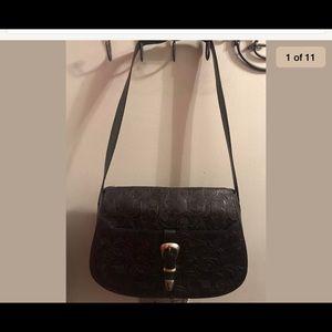Escada Black Leather Tooled Saddle Purse